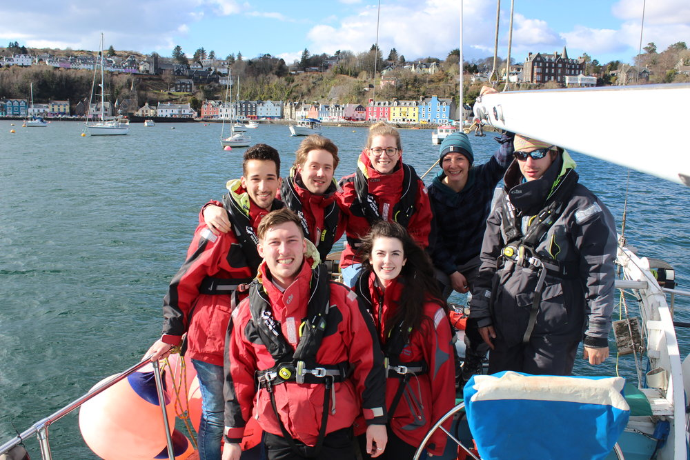 The volunteers with our boat team, Emma and Simon, and our new Marine Biodiversity Officer, Becky