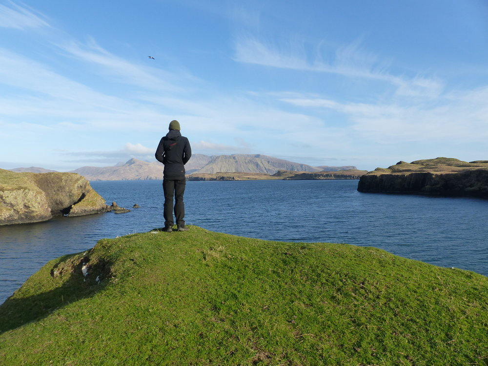 What a view! Ben, one of our volunteers, looking out from Canna towards Rum