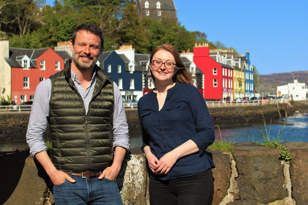 Karl Stevens and Siobhán Moran, the Hebridean Whale Trail team