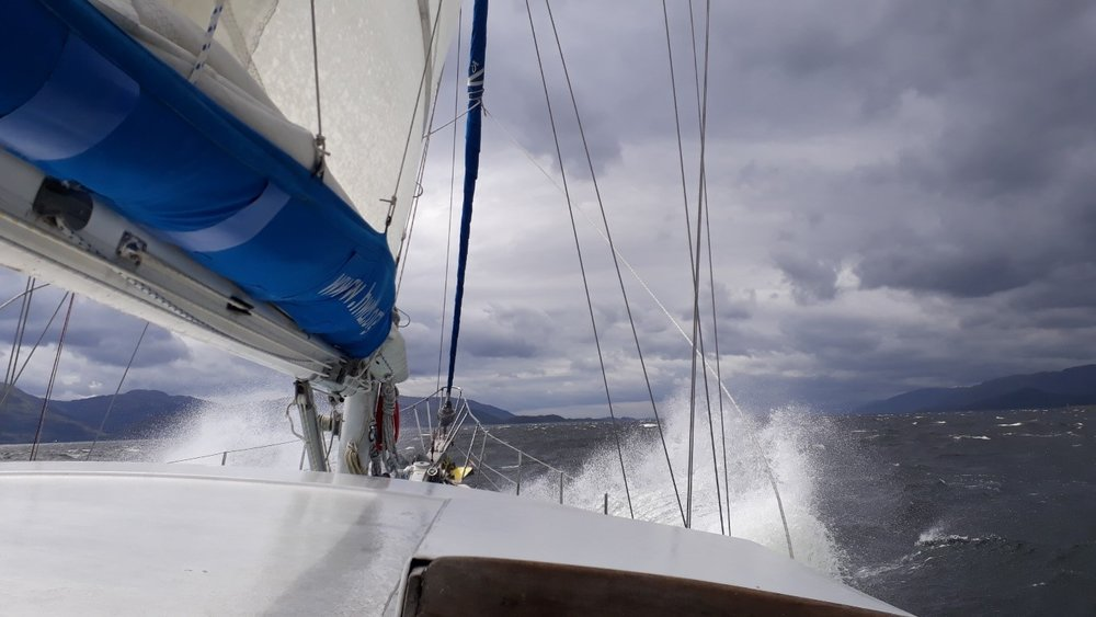 An exhilarating moment, heading into wind through the Corran Narrows.