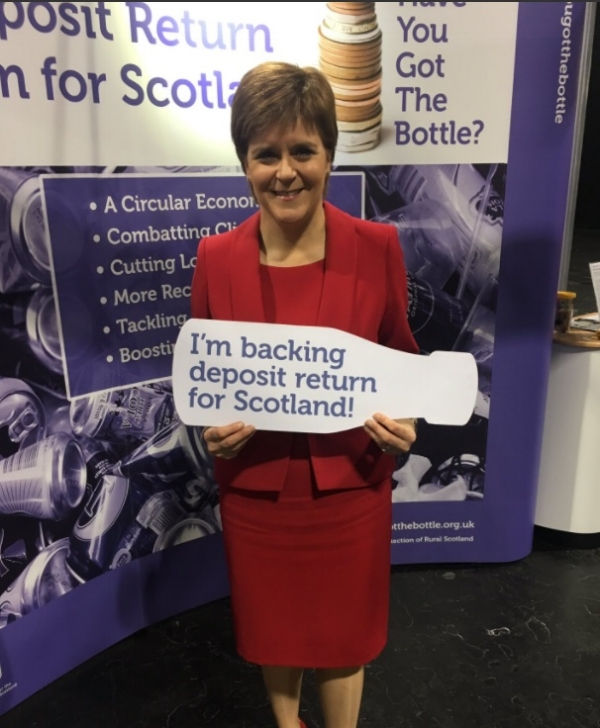 First Minister, Nicola Sturgeon, shows her support for the deposit return scheme at the SNP Conference 2017 .