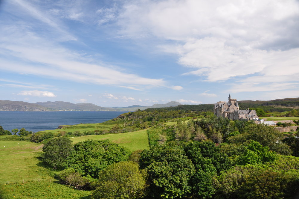 Glengorm Castle, on the north coast of Mull, with views across to Ardnamurchan