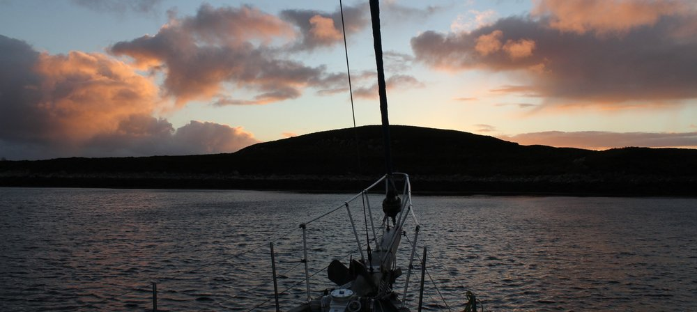 Silurian anchored in a remote bay off the Summer Isles - perfect for an evening swim!