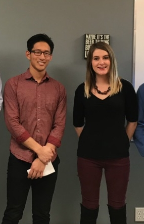 2018 Oldman River Chapter Research in Conservation Scholarship recipients Micky Ahn (University of Lethbridge) and Teagan Holt (Lethbridge College).