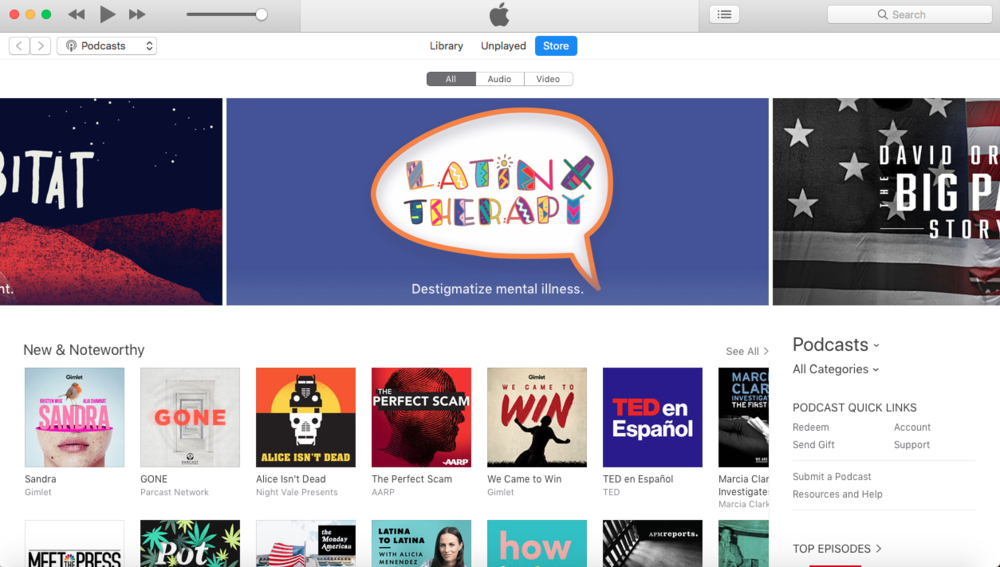 Apple Podcasts Front Page