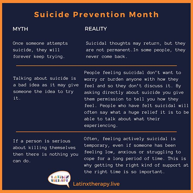 Here are some more myths and realities. What are some you've heard? I know there are so many. Let's share these so people have correct information. Talking about suicide does is not bad. It's scary, but it opens the dialogue to find other alternatives. #yourlifematters  Aquí hay más mitos y sus realidades. Quiero que lo lean y comparten para que todos tengan esta información. Hablando del suicidio no es como plantar una semilla mala, al contrario, previene más y abre las puertas a otras opciones saludables. #tuvidaimporta