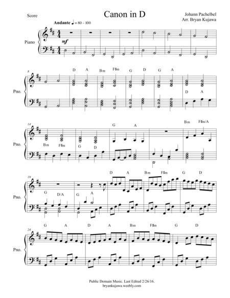 Canon In D Piano Pdf