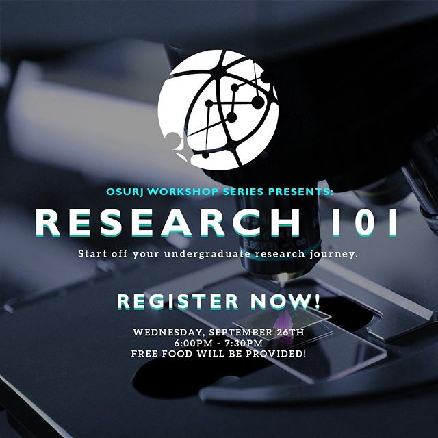 The OSURJ is back for the new academic year and we're starting it off right by bringing you Research 101 - the first workshop in a four part series that'll be your ultimate guide to starting undergraduate research! 🔬  Interested? Admission is free so register now! Link in our bio.