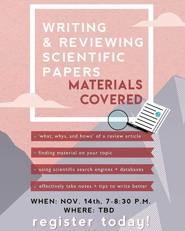 Check out our upcoming workshop taking place on Nov. 14th, 7 p.m. till 8.30 p.m. (location tbd)! Gain valuable knowledge on how to effectively write and review scientific papers, by  Ph.D candidate in Environmental Engineering Patrick D'Aoust. Registration link in bio!
