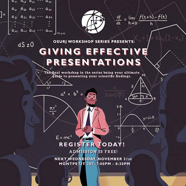 With the 3rd workshop having wrapped up, we're excited to announce the final instalment of the OSURJ workshop series: Giving Effective Presentations!  If you've found yourself struggling with the how's and what's of presenting your research findings, this is perfect for you! 😊  More info in our bio!! 👆