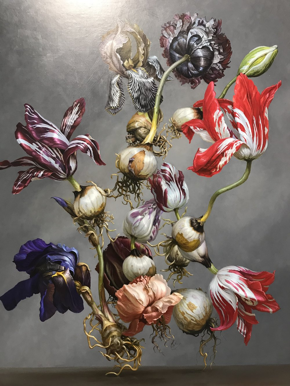 Tulips and Bulbs (after Rachel Ruysch) , 2016 by  Matthew McConville  .