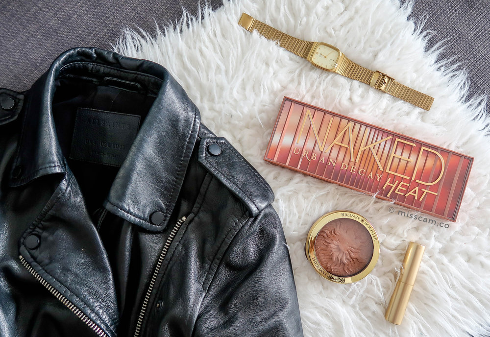 All Saints Jacket and Urban Decay Naked Heat Palette