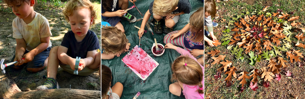 11:00 AM - Art and Craft - Creating with tools, and found materials. Students can make paintbrushes from found materials, work with clay or dig in the dirt.