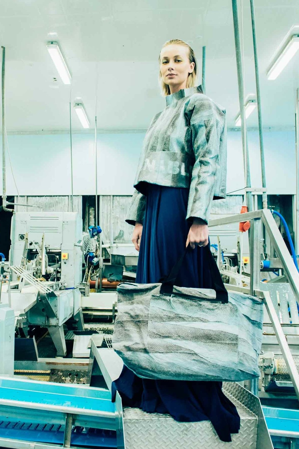 Shot by Tommy Ton of Jenny S Wardum on a fish factory in Klaksvík, Faroe Islands