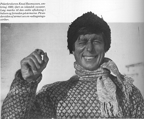 Knud Rasmussen in a Faroese cross sweater, taken from the article ' Islænder, islandsk sweater – den overraskende historie '