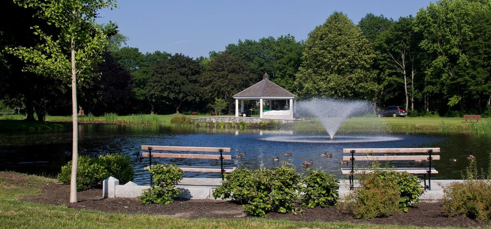 A feature of Mill Creek Park is the duck pond, which offers seating and a fountain