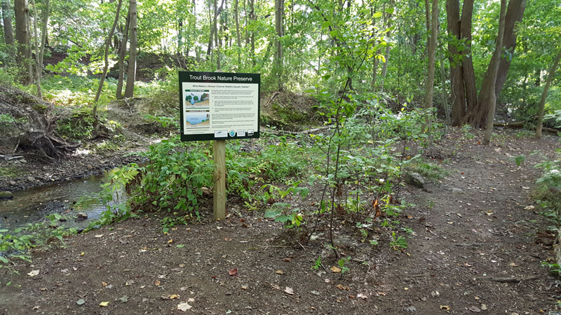 Informational sign at the edge of Trout Brook
