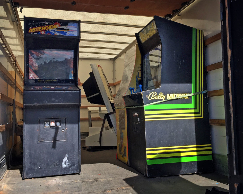 Four of our cabs on the van: Asteroids, Rampage, Pac-Man, Missile Command and a mystery Jamma cab