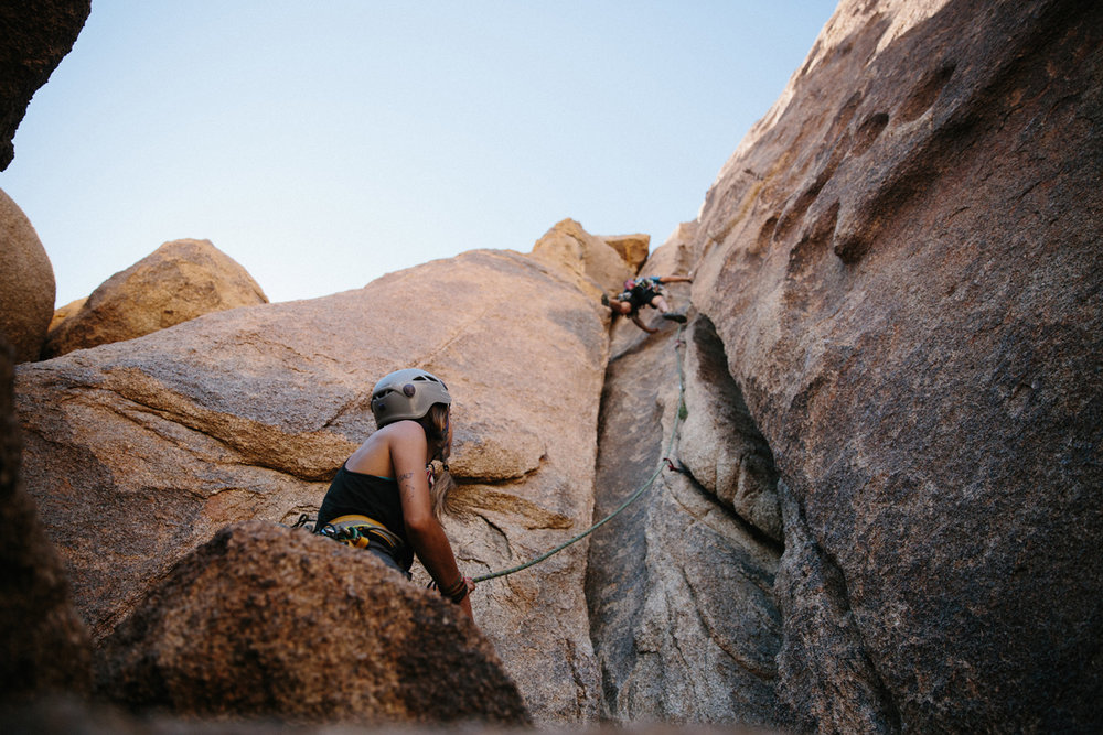 The Outbound Collective - Joshua Tree, CaliforniaThe Outbound Collective contracts us to document the trips they plan and love. From mountain biking through Moab to backcountry skiing in Tahoe we go where they go. This particular job took us to Joshua Tree for a few days of climbing and camping on coarse quartz walls in one of the most beloved climbing areas in the US.