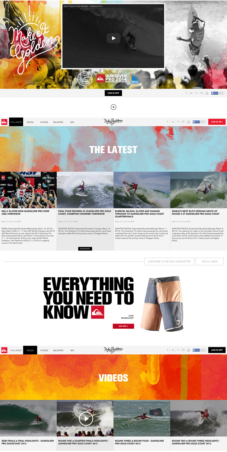 Quiksilver Gold Coast/ WSL Event - Event user Experience DesignArt Direction: WSL Creative team