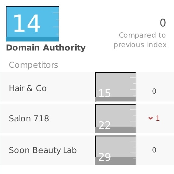 But we can improve the website's domain authority - A dynamic homepage with more content — like testimonials, promotions, and featured stylists — will increase the salon's authority, which improves search result rankings.