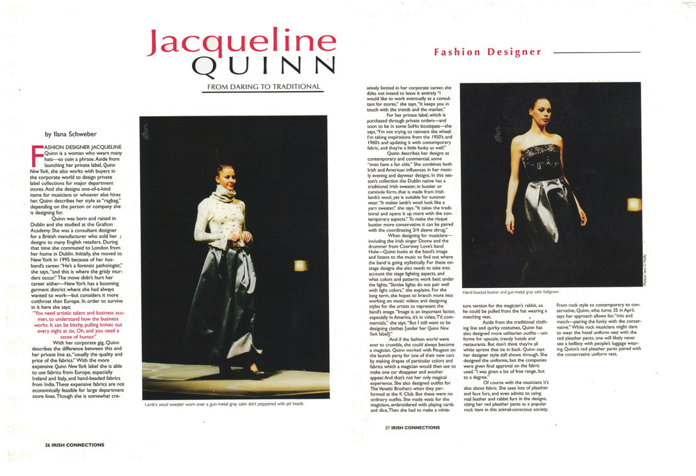 "JACQUELINE QUINN FEATURED IN ""IRISH CONNECTIONS"" ARTICLE"