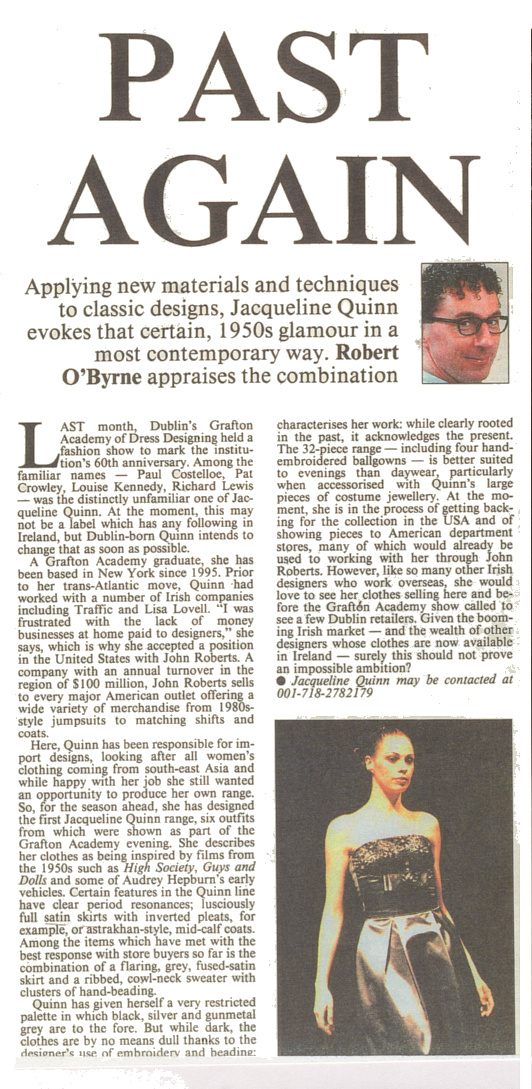 JACQUELINE QUINN FEATURED IN THE IRISH TIMES