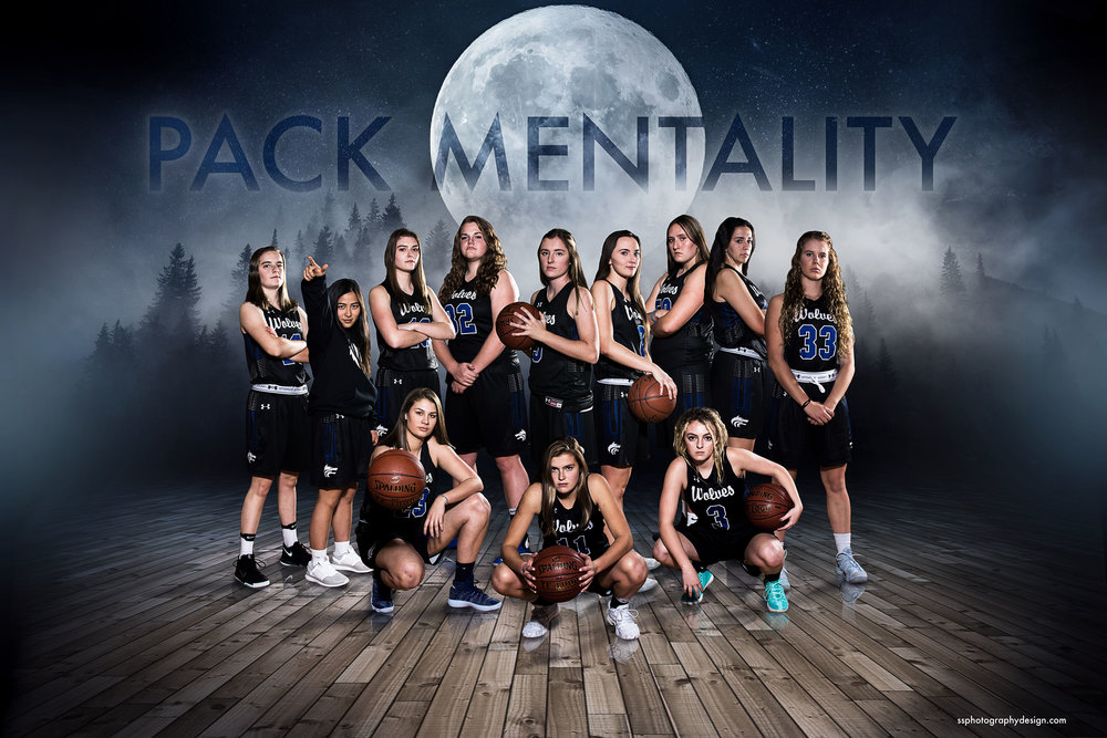 Timberline High School Girls Basketball Team photography, lighting, and composite.