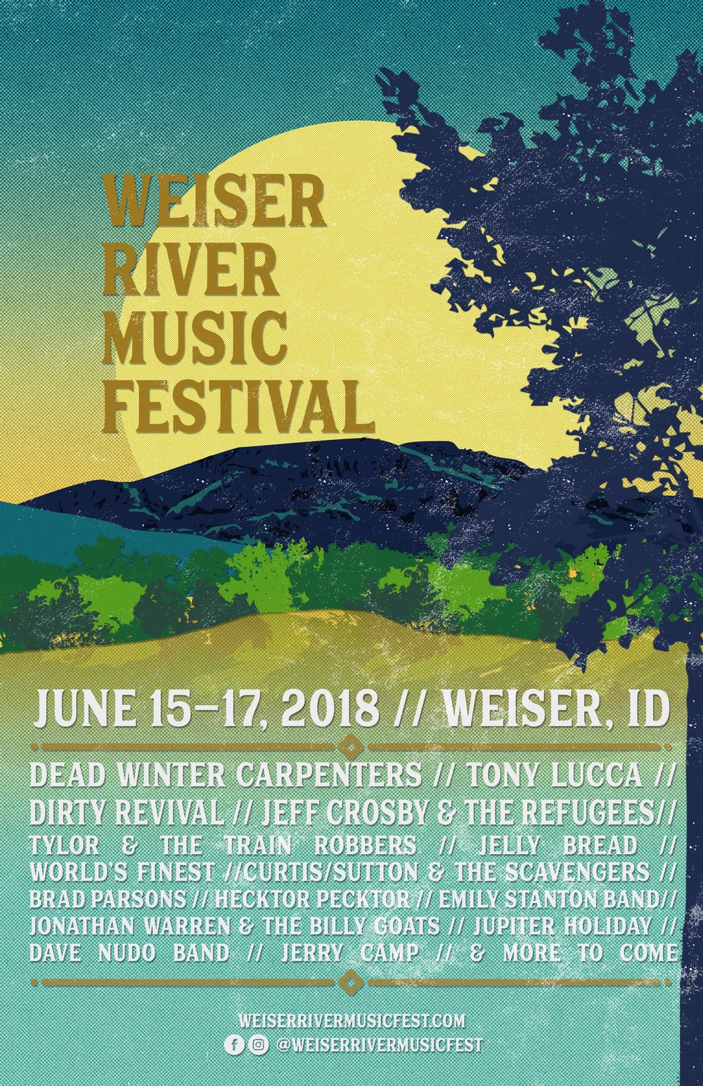 Poster design for the first-annual Weiser River Music Festival. I am the head of the marketing team for this event, and run the website and Instagram, as well.