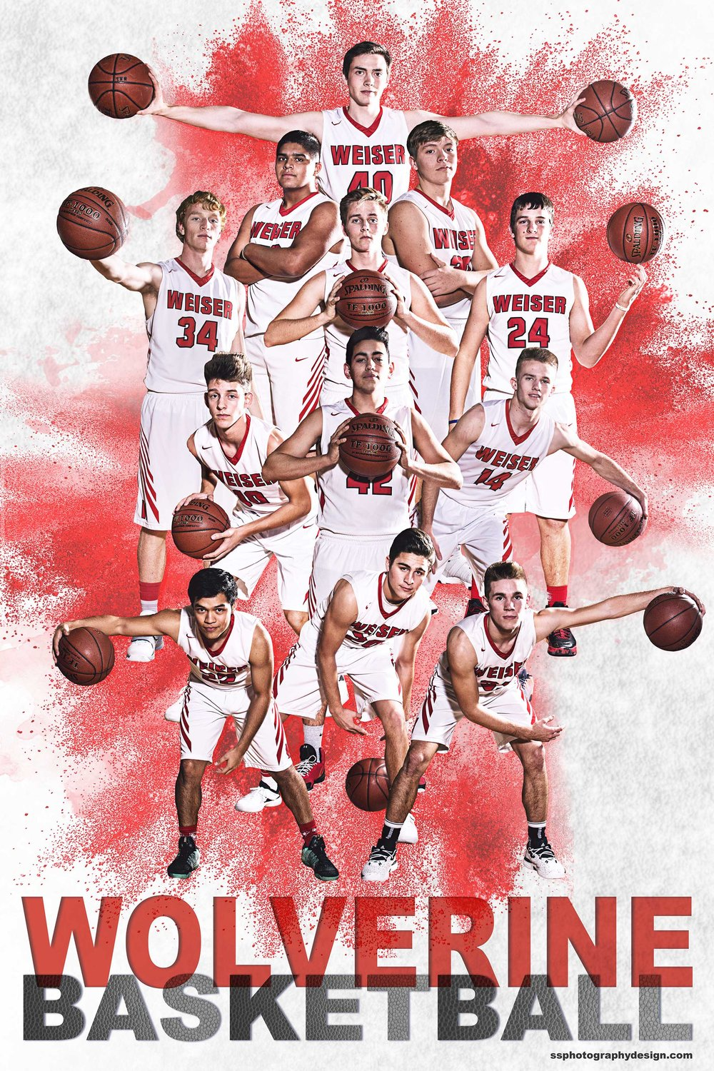 WHS Boys Basketball 2017-18 team photography, lighting, and composite.