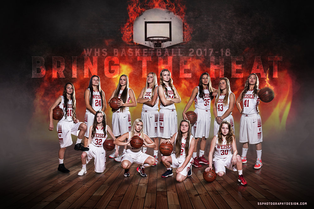 WHS Girls Basketball Team photography, lighting, and composite.