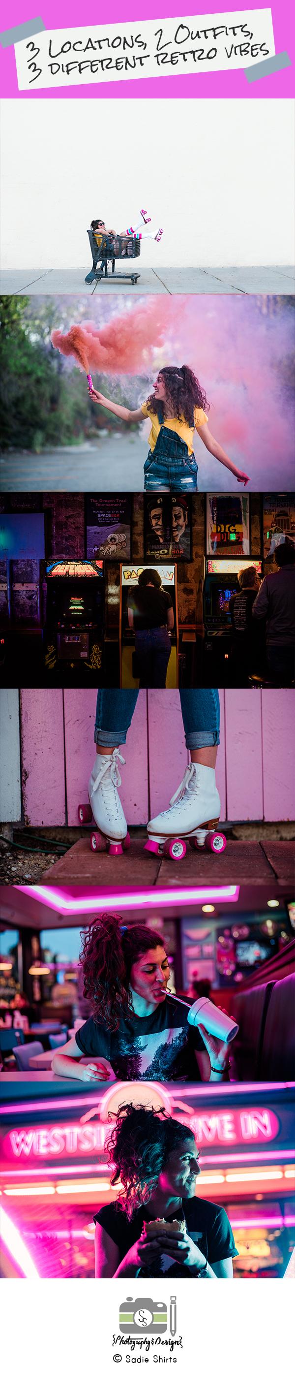 Retro // 80's // Beatles // Target Style // Vintage Styled Shoot // burgers // retro outfit // smoke bomb photography // rollerskate photography // arcade photoshoot // Boise Wedding Photographer // Idaho // Idaho Session // Styled Shoot Ideas // Outfit Ideas // Overall outfit // Spacebar Boise // cheeseburger // milkshake // neon lighting // neon photoshoot // SS Photography & Design // Sadie Shirts