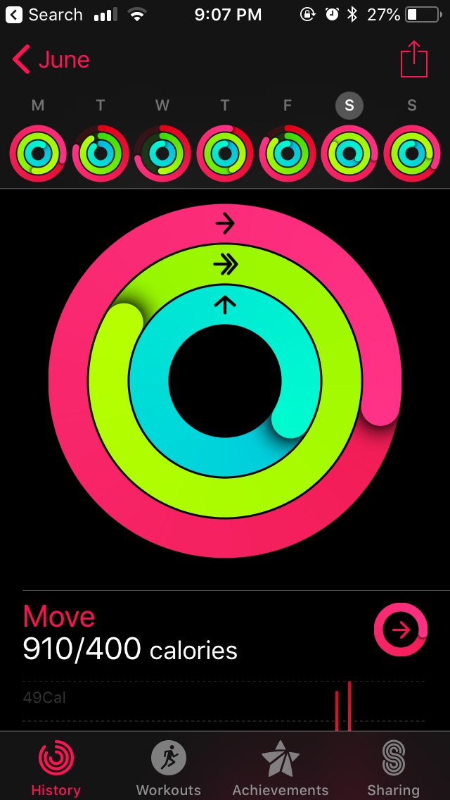 The activity rings can be viewed on my Watch, but this is a view from my iPhone. You can see that I exceeded all of my workout goals for the day by quite a bit. I almost tripled my Exercise ring,