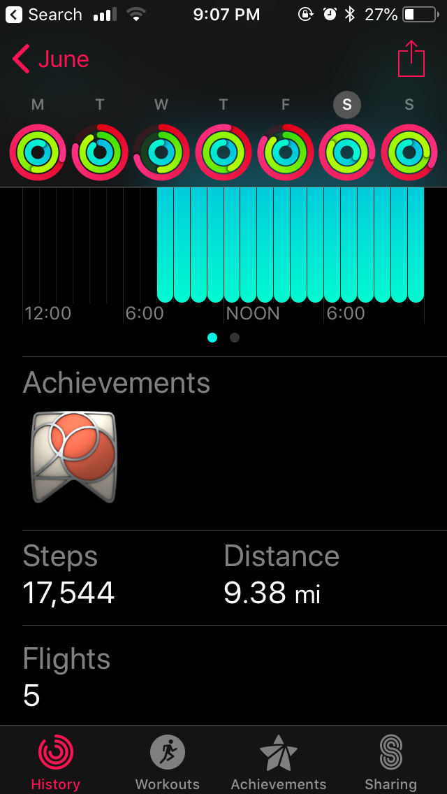You can see that I'm on my feet basically since I wake up until I go to bed on a wedding day. For this wedding, I took a total of 17,544 steps, and walked just under 10 miles.