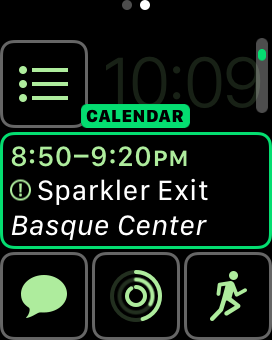 I put Reminders on the top left, iCal in the middle, and iMessage, Activity, & Workout on the bottom.