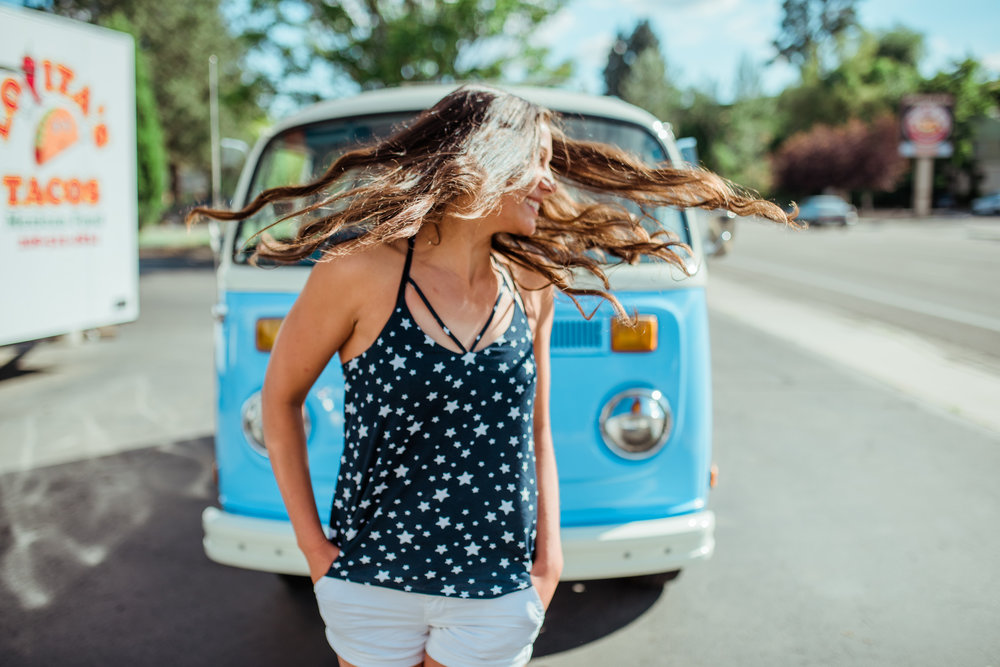 Boise Senior Photographer // Idaho // graduation // Boise // natural posing // laughter // flowers // senior girl posing // VW Bus // retro aesthetic // fun senior pictures // summer vibes // summer photos // summer // SS Photography & Design // Sadie Shirts