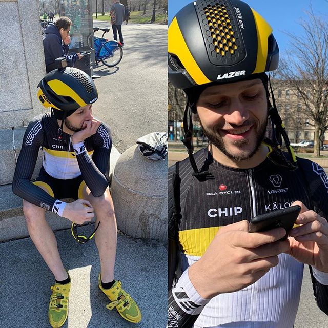 "Sad Jessy, before & happy Jessy, after losing and finding his phone. He ""lost"" it by putting in a teammates race bag 😑. #velasociety #vergesport"
