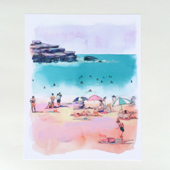 Bondi Beach in Pink Print by Kristine Brookshire