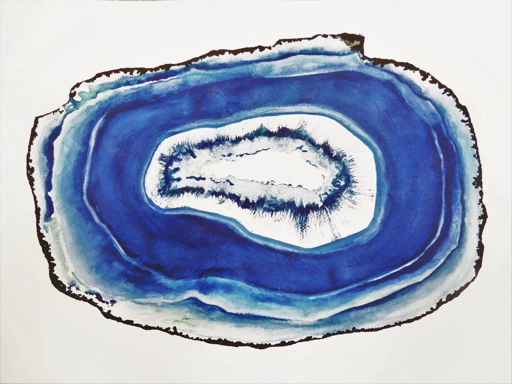 Agate 1  Watercolor on paper. 24 x 18 in.