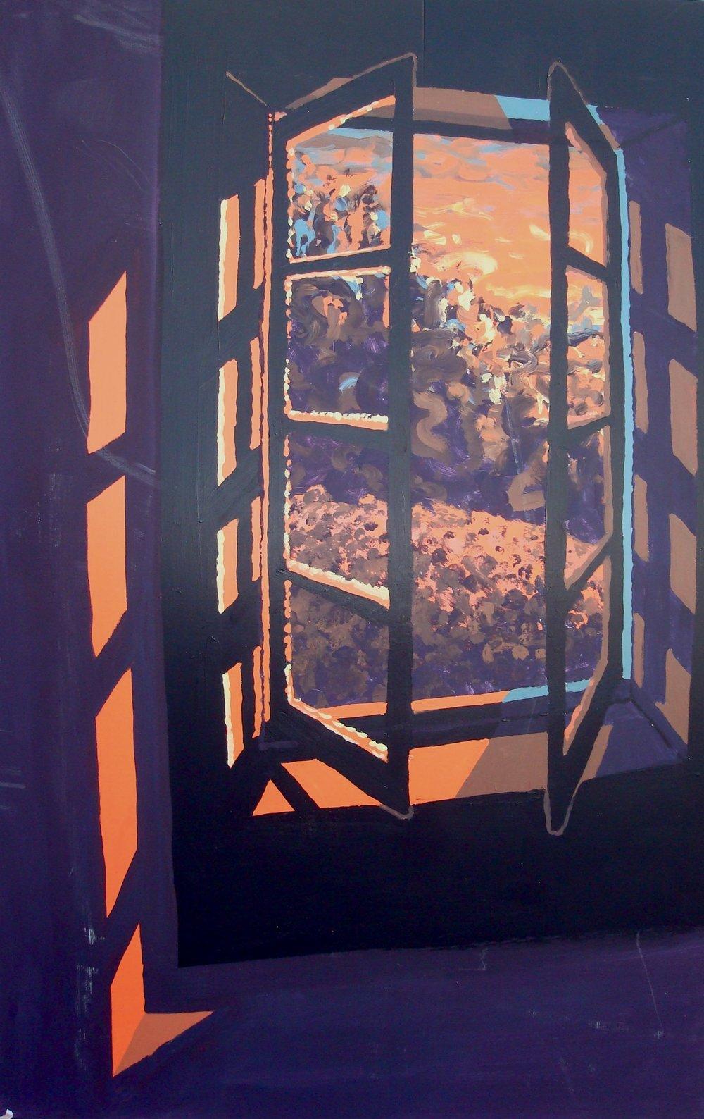 Window #319  Tempura paint on cardboard. 4 x 6 ft.