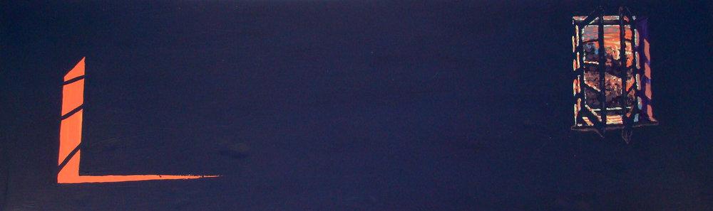 Window #296  Tempura paint on cardboard. 8 x 2 ft.