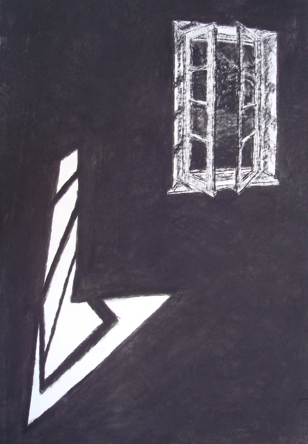 Window #84  Charcoal on paper. 2 x 3 ft.