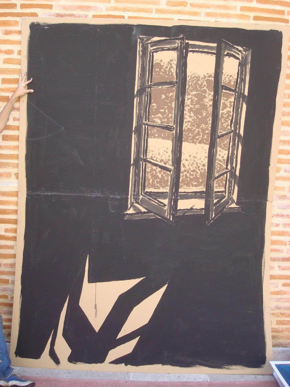 Window #322  Tempura paint on cardboard. 6 x 8 ft.