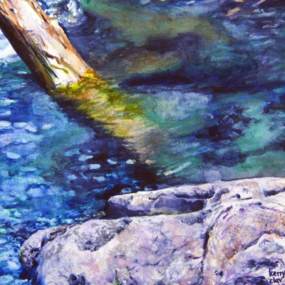 Stillaguamish Headwaters 5  Watercolor on paper. 6 x 6 in.