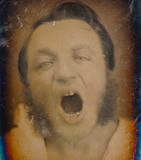 Man with Open Mouth; Unknown maker, French; about 1852 Daguerreotype hand-colored