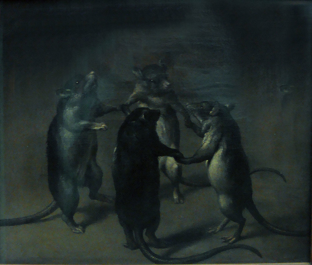 """Oil Painting,""""Der Tanz der Ratten""""(""""The Dance of the Rats""""), Unknown Flemmish Master of the 17th century, Frankfort, Städel"""