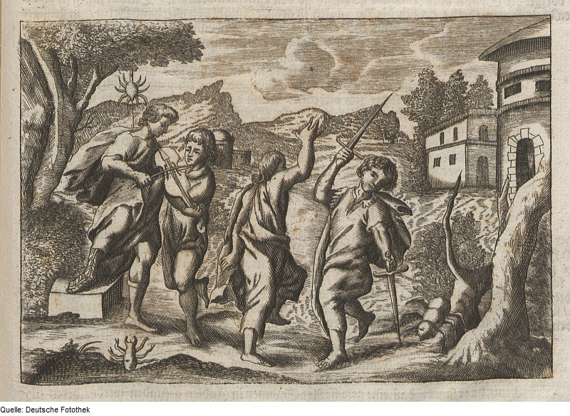 """Copper Engraving on Paper of """"Healing a Man Bitten by a Tarantula Music and Dance"""", Friedrich Schultes, 1684, German Photo Library"""