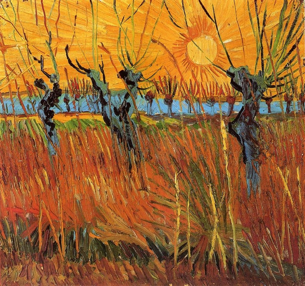 """Willows at Sunset"", by Vincent Van Gogh, oil on canvas, 1888, Kroller-Muller Museum"