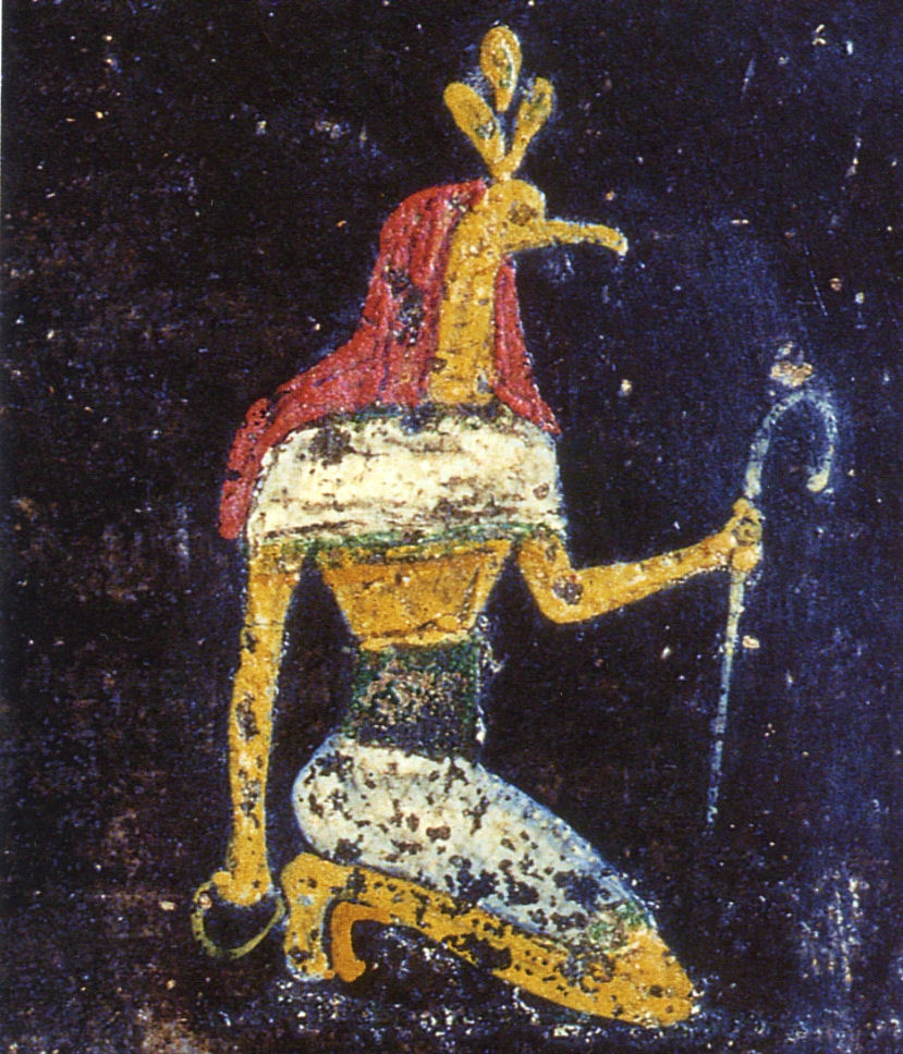 Fresco of the Egyptian god Thoth (3rd style) in the Tablinum of the Villa de Misteri (Pompeii)