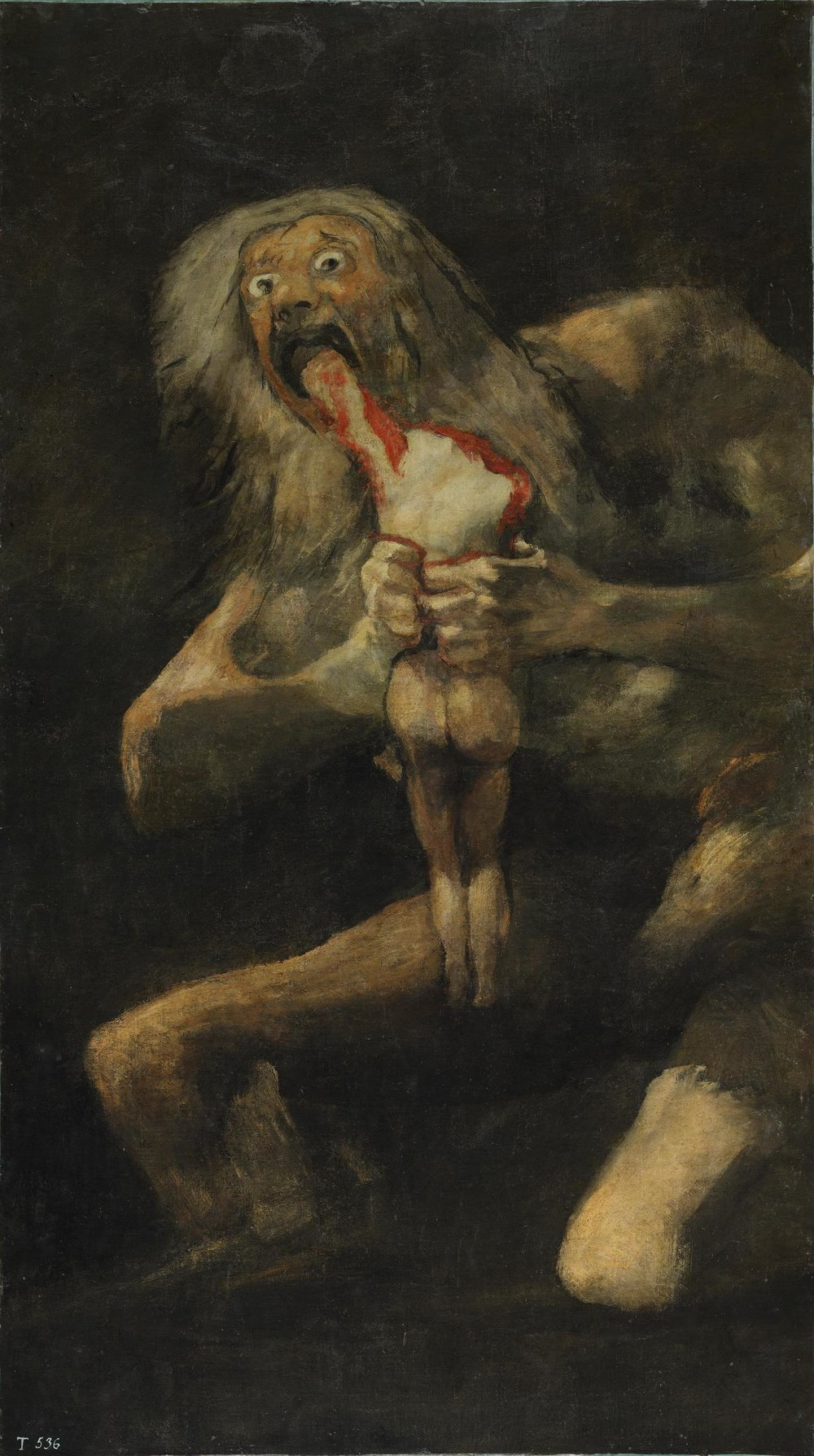 Untitled, known as   Saturn Devouring His Son  ,  Devoration  or  Saturn Eats His Child, oil on canvas, Francisco de Goya, 1819-23, Meseo Del Prado